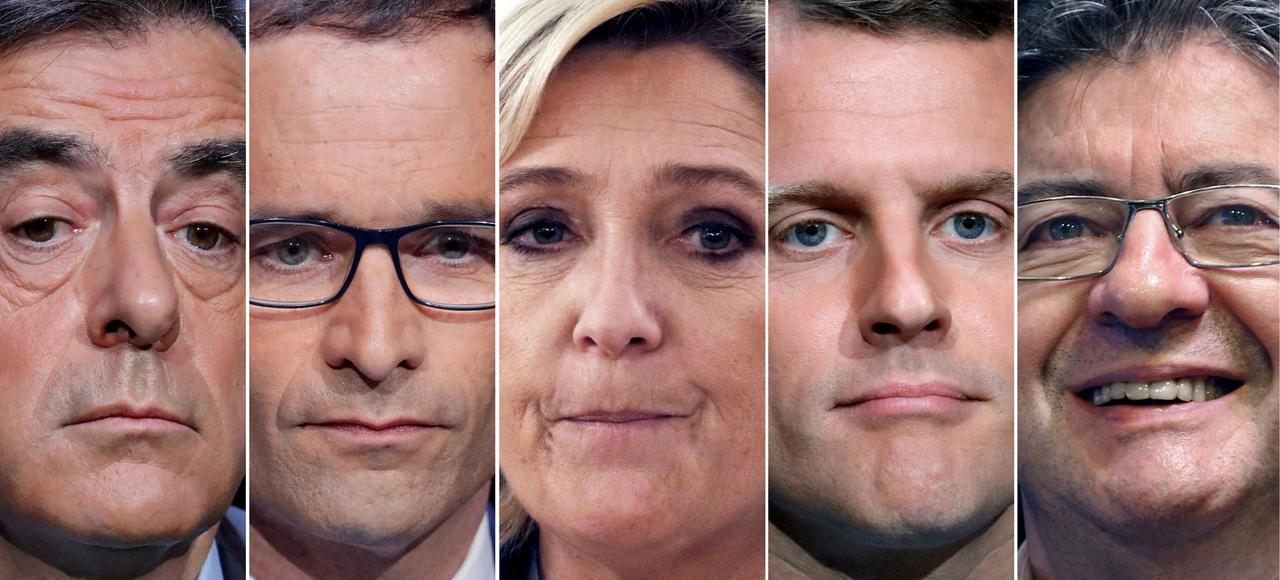 Les candidats favoris des sondages à l'élection présidentielle 2017.