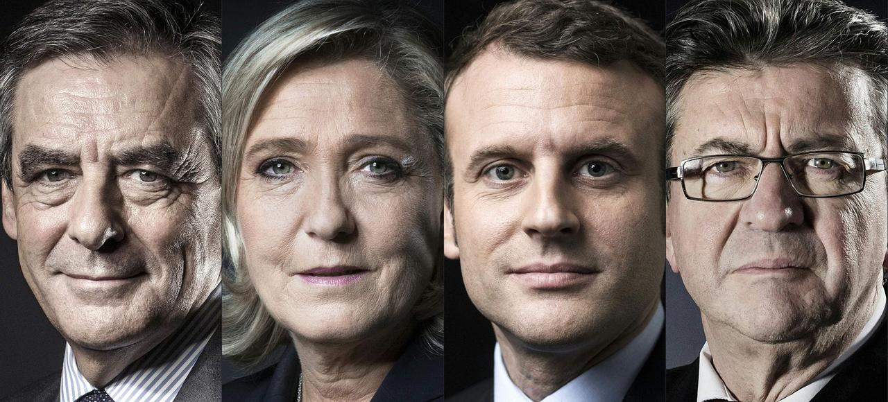 À la veille du premier tour de scrutin, les écarts constatés entre les quatre favoris, François Fillon, Marine Le Pen Emmanuel Macron et Jean-Luc Mélenchon, demeurent extrêmement serrés.