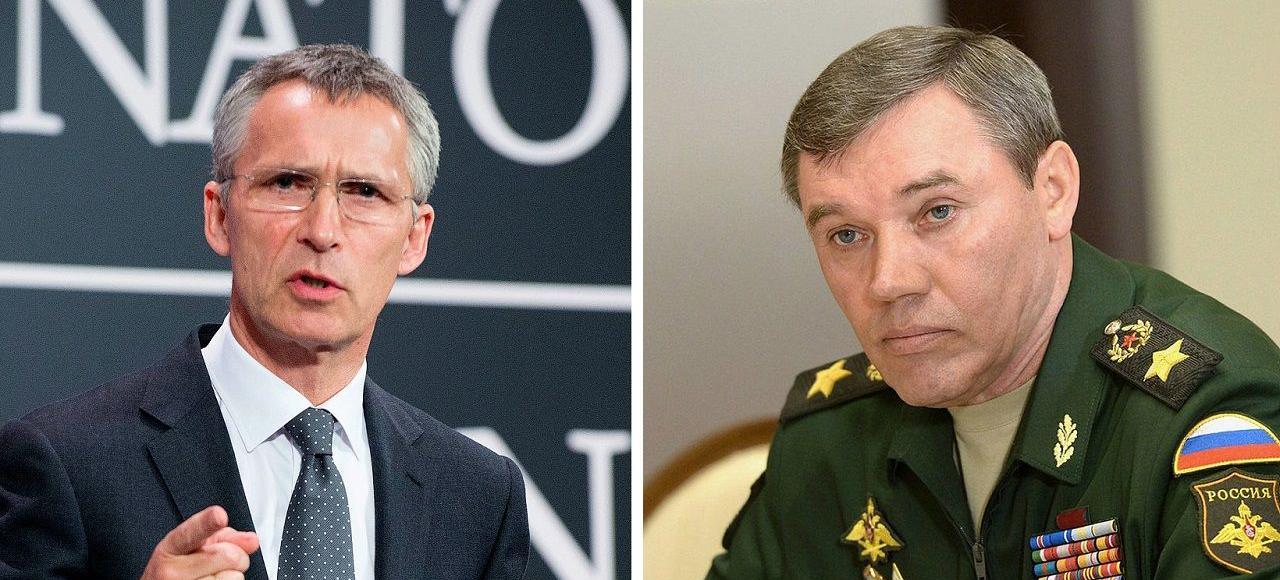 Jens Stoltenberg, secrétaire général de l'Otan, et Valéri Guérassimov, chef des forces armées russes.