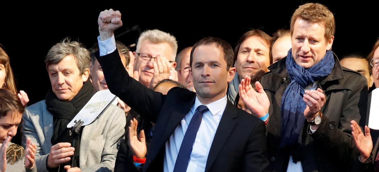 Benoît Hamon, mercredi à Paris,lors de son dernier rassemblementde campagne