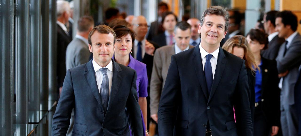 Emmanuel Macron et Arnaud Montebourg, en 2014.
