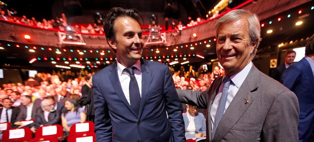 Yannick Bolloré en compagnie de son père Vincent Bolloré, mardi, à Paris.