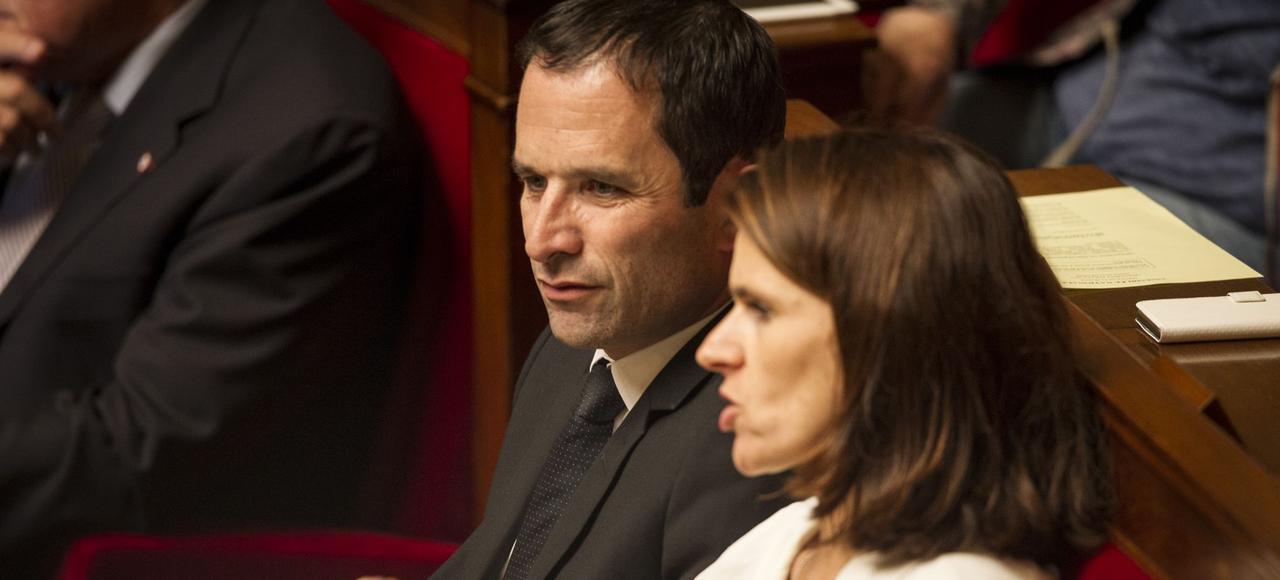 Benoît Hamon avec Aurélie Filipetti, sur les bancs de l'Assemblée nationale.