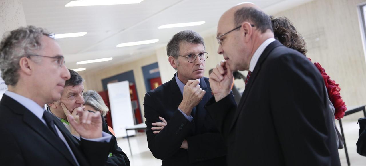 Vincent Peillon et Pierre-Yves Duwoye lors d'un séminaire en 2014.