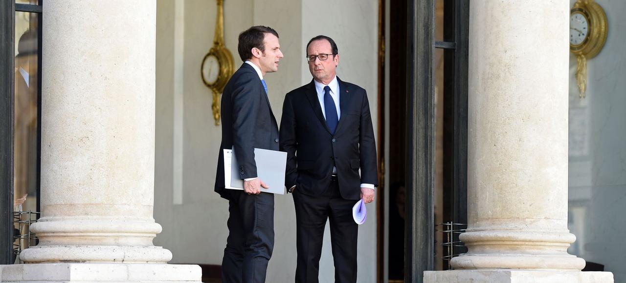 Emmanuel Macron, alors ministre de l'Économie de François Hollande, en avril 2015.