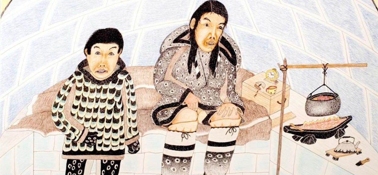 Lithographie de deux Inuits dans un igloo, signée Kananginak Pootoogook et présentée lors de la 57e Biennale de Venise.