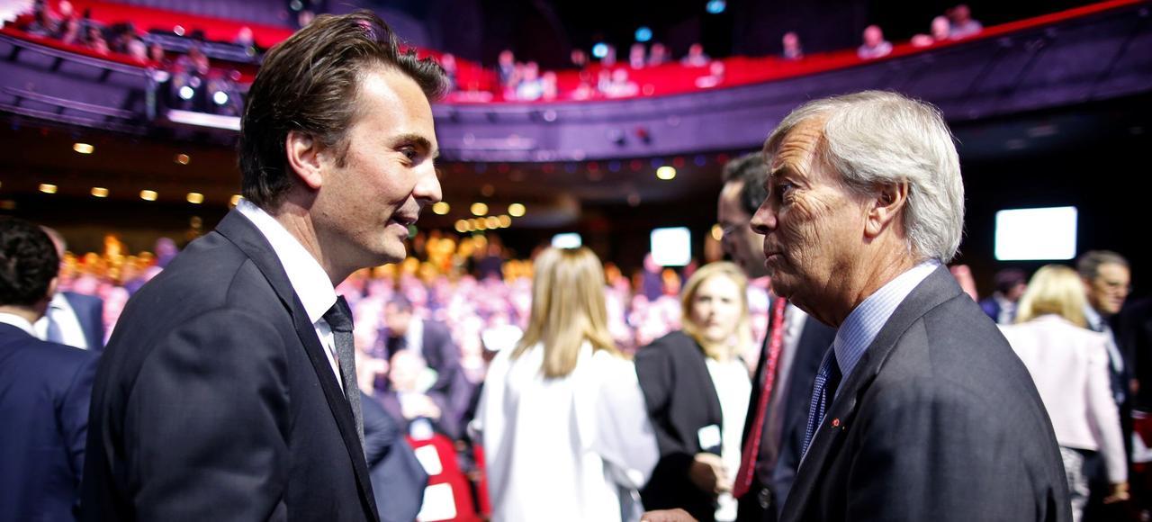 Yannick Bolloré, PDG d'Havas et son père, Vincent Bolloré, président du conseil de surveillance de Vivendi.