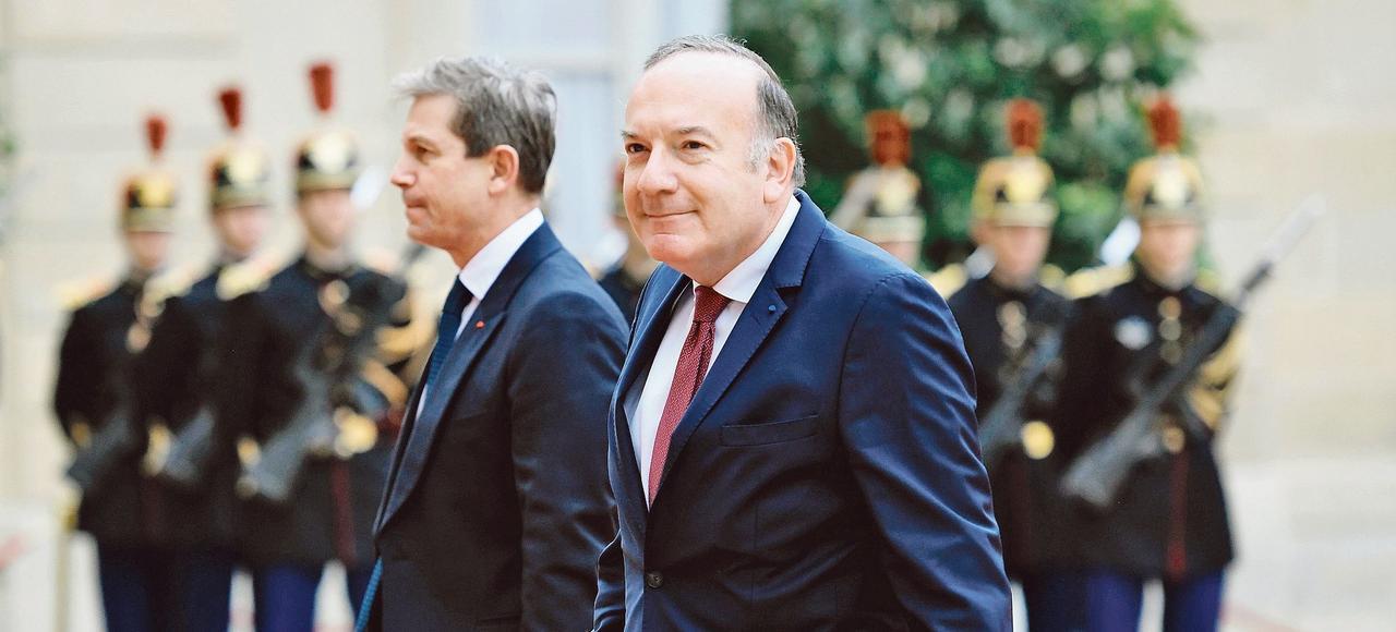 Pierre Gattaz, dimanche, lors de son arrivée à l'Élysée pour la cérémonie d'investiture d'Emmanuel Macron.