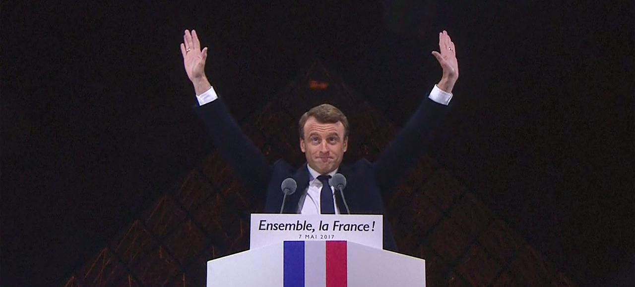Emmanuel Macron au Louvre le soir du deuxième tour de l'élection présidentielle.