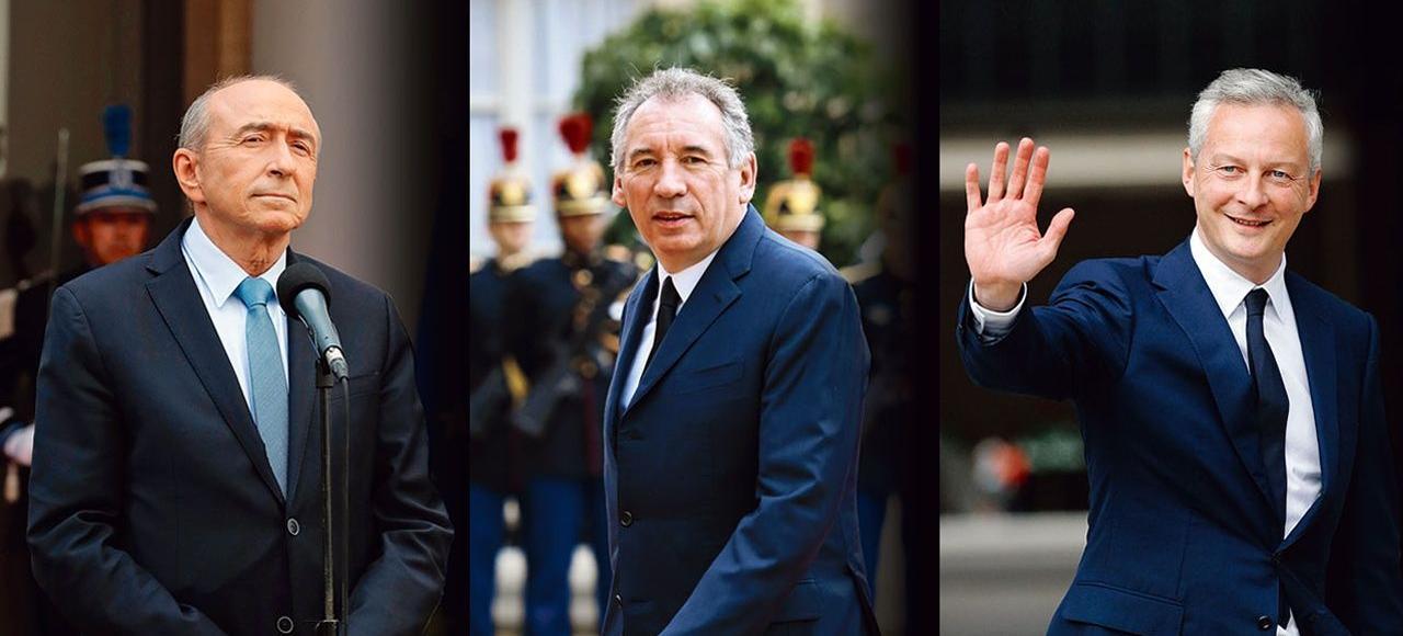 Gérard Collomb, ministre de l'Intérieur, François Bayrou, ministre de la Justice, et Bruno Le Maire, ministre de l'Économie.