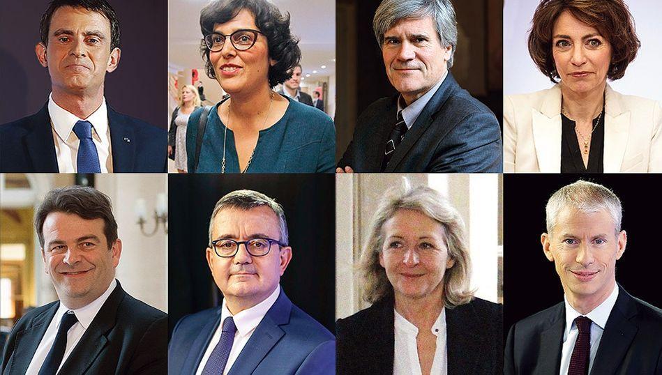 De gauche à droite: Manuel Valls, Myriam El Khomri, Stéphane Le Foll, Marisol Touraine, Thierry Solère, Yves Jégo, Laure de La Raudiere, Franck Riester.