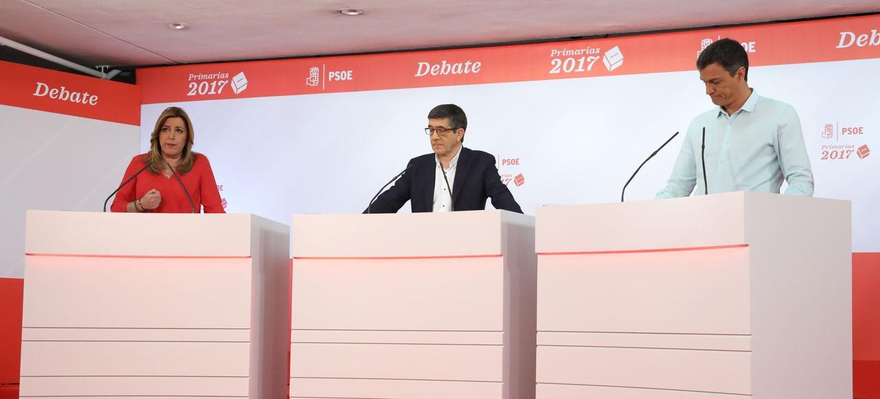 Les trois candidats aux primaires du PSOE: Susana Díaz, Patxi López et Pedro Sánchez.