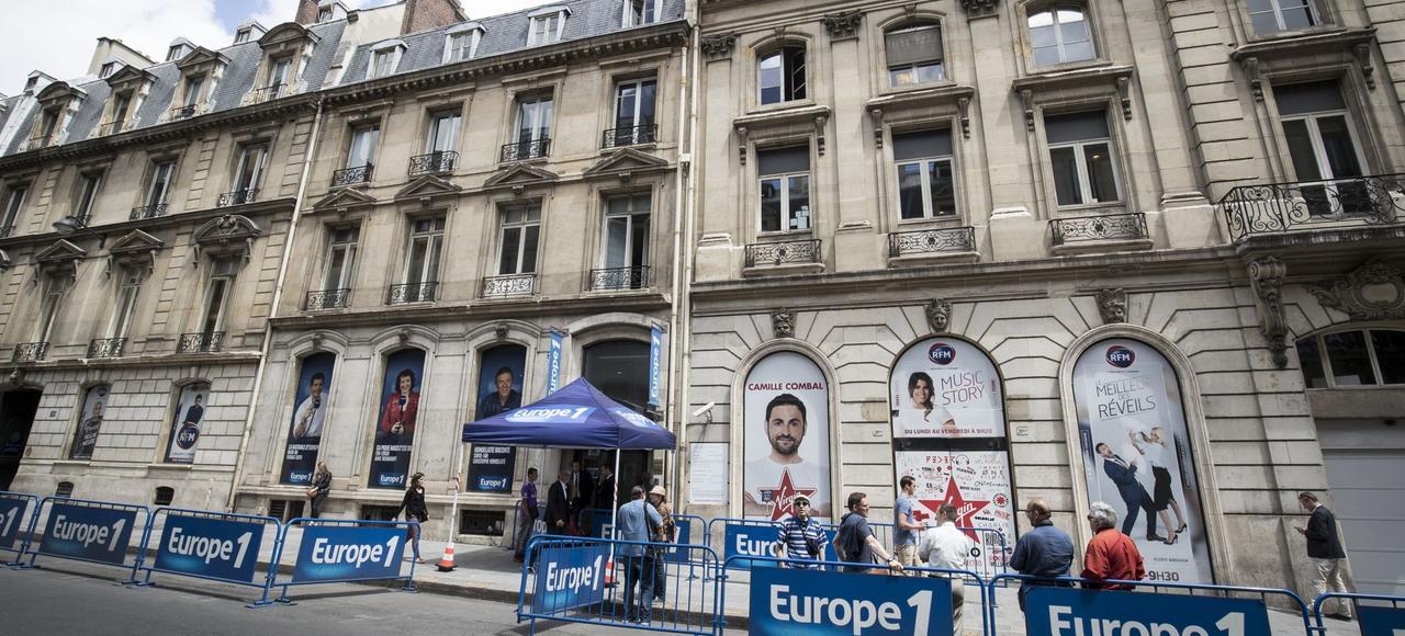 Le siège actuel d'Europe 1, rue François-1er, à Paris. L'ensemble immobilier haussmannien compte 11000 mètres carrés composés notamment de quatre hôtels particuliers réunis.