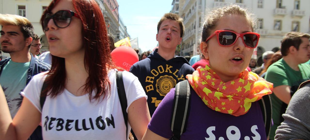 Manifestation de jeunes Grecs à Thessalonique, le 1er mai 2015.