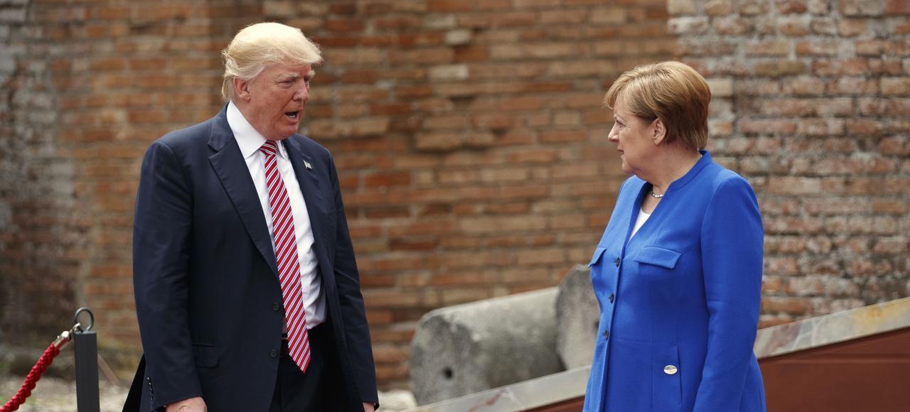 Donald Trump et Angela Merkel, à Taormine (Italie), lors du G7.
