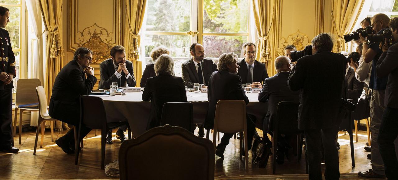 Rencontre, le 24 mai dernier, entre Édouard Philippe et les partenaires sociaux à Matignon.