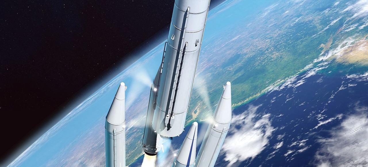 Vue d'artiste de la version commerciale d'Ariane 6.