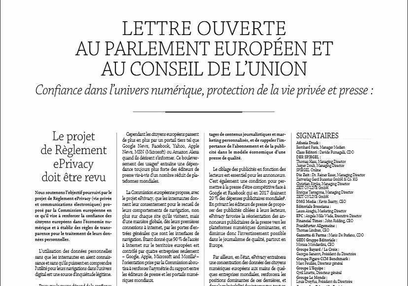 Lettre ouverte envoyée fin mai à la Commission européenne par les éditeurs de médias européens, dont le Syndicat français de la presse quotidienne nationale.