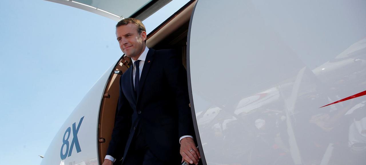Emmanuel Macron, lundi au salon du Bourget.