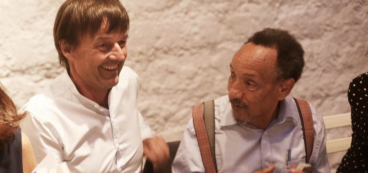 Nicolas Hulot et Pierre Rabhi à la Cartonnerie à Paris, jeudi 15 juin 2017.