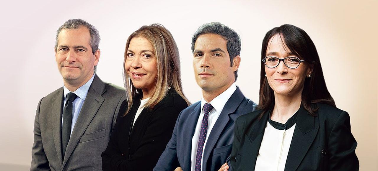 De gauche à droite: Laurent Vallet, président de l'INA, Marie-Christine Saragosse, présidente de France Médias Monde, Mathieu Gallet, PDG de Radio France, et Delphine Ernotte, PDG de France Télévisions.