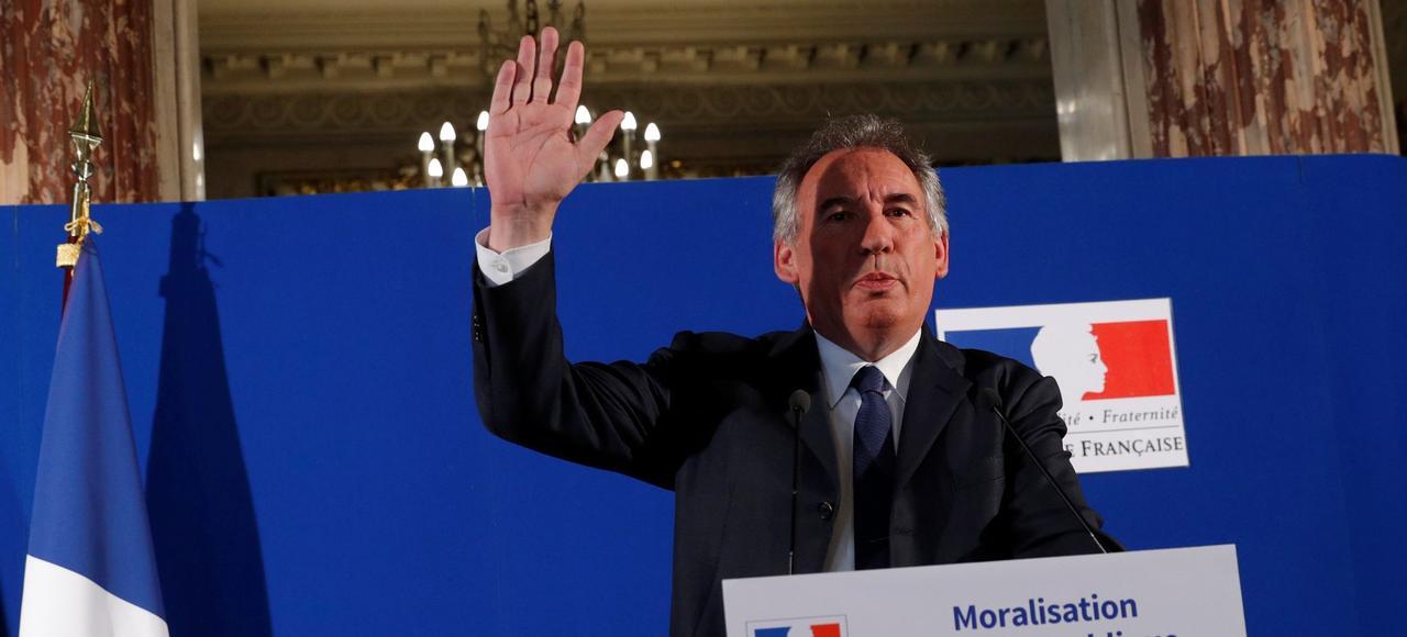 François Bayrou présentant son projet de loi de moralisation de la vie publique, le 1er juin 2017.