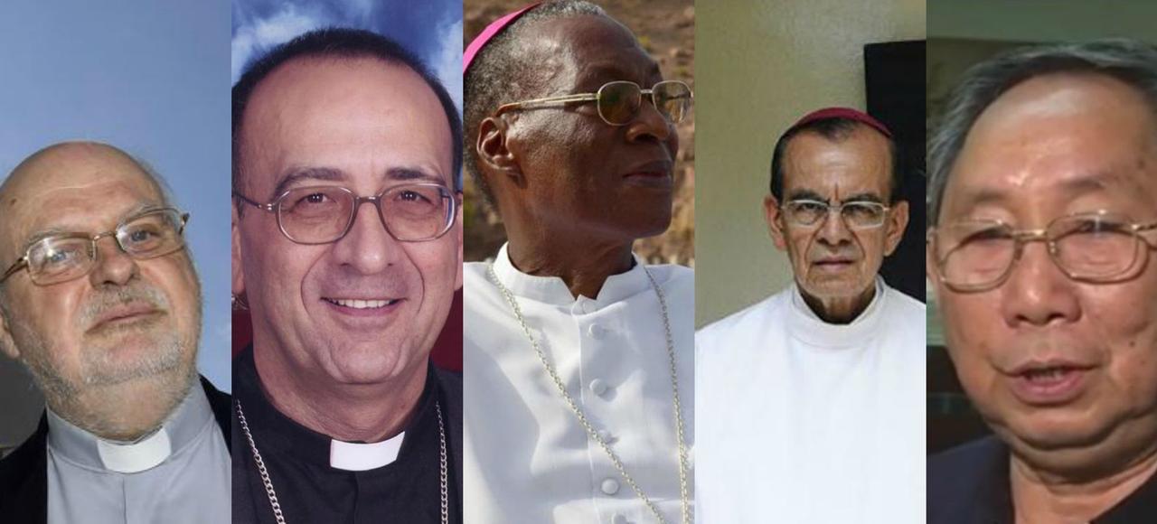 Anders Arborelius, Juan José Omella, Jean Zerbo , Gregorio Rosa Chavez et Louis-Marie Ling Mangkhane- Khoun, les cinq cardinaux nommés par le pape François.