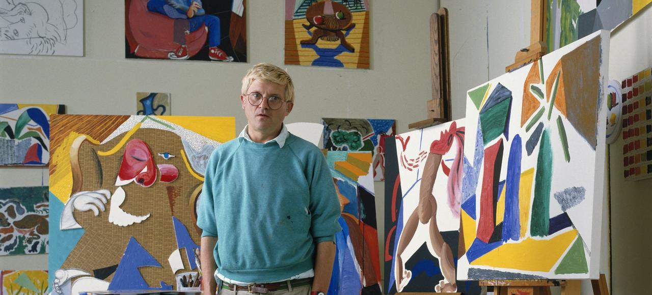 David Hockney dans son atelier de travail en Californie, en 1988.