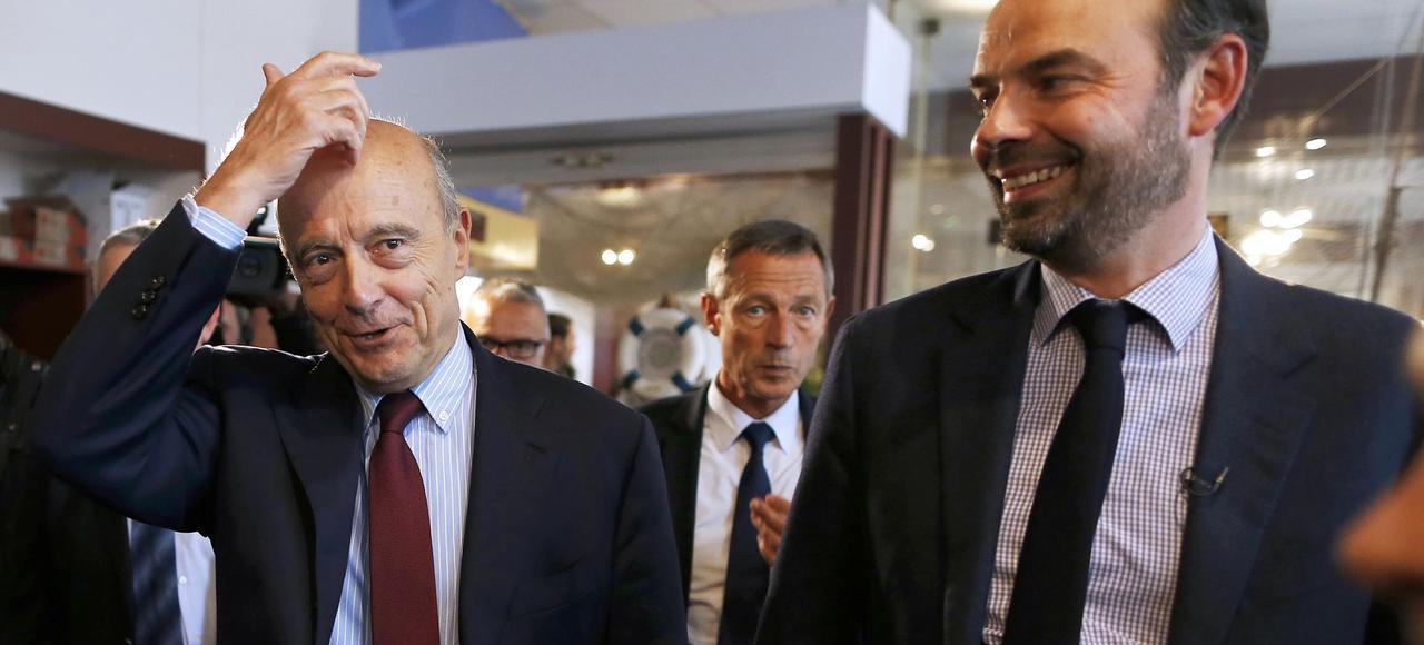 Alain Juppé et Edouard Philippe, le 12 novembre 2016, pendant la campagne des primaires.