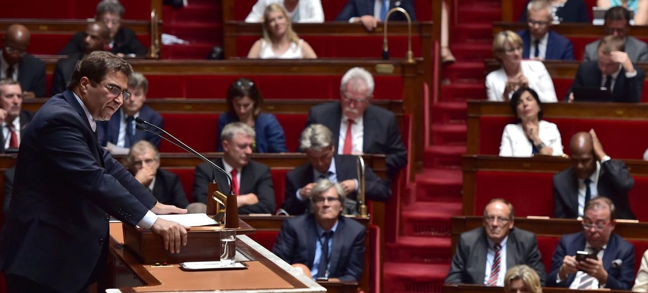 Christian Jacob, président du groupe LR à l'Assemblée, prononce son discours ce mardi au Palais Bourbon.