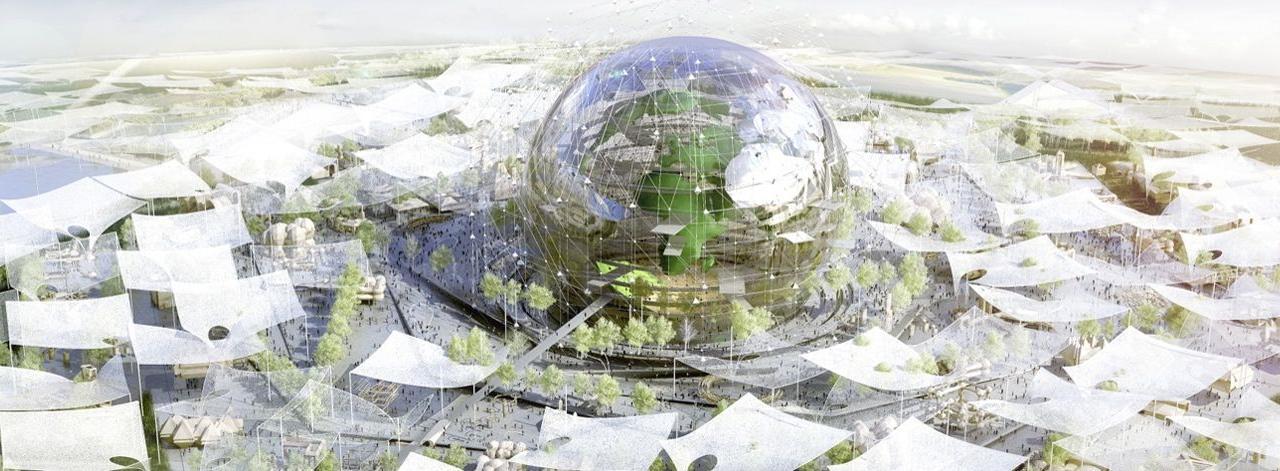 Le Village global s'apparente à un grand globe terrestre de 127mètres de diamètre qui permettra aux internautes du monde entier de se connecter entre eux.