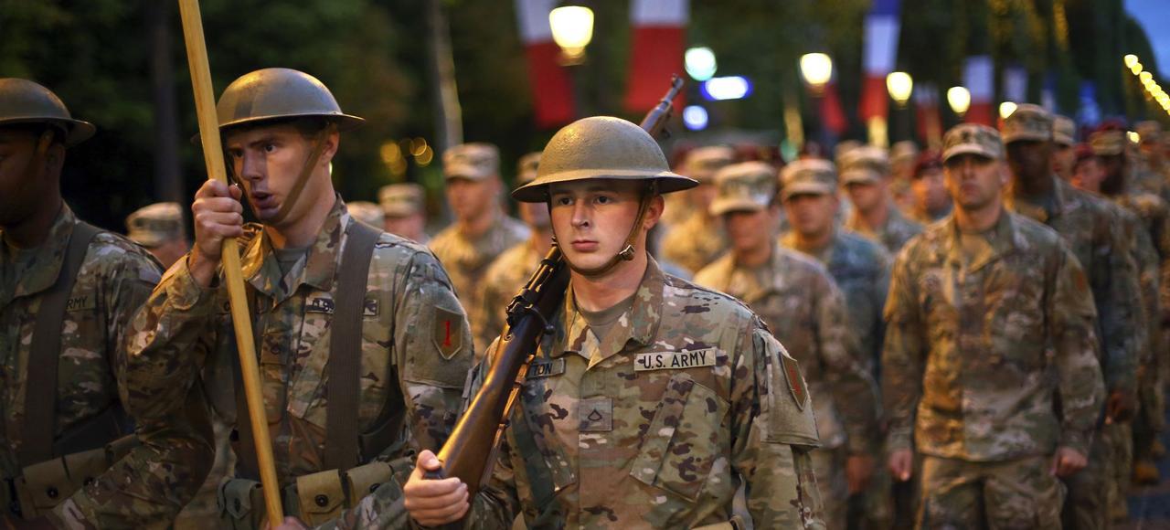 Les soldats américains, mercredi, sur les Champs-Élysées, à l'occasion des répétitions de la parade du 14 Juillet.