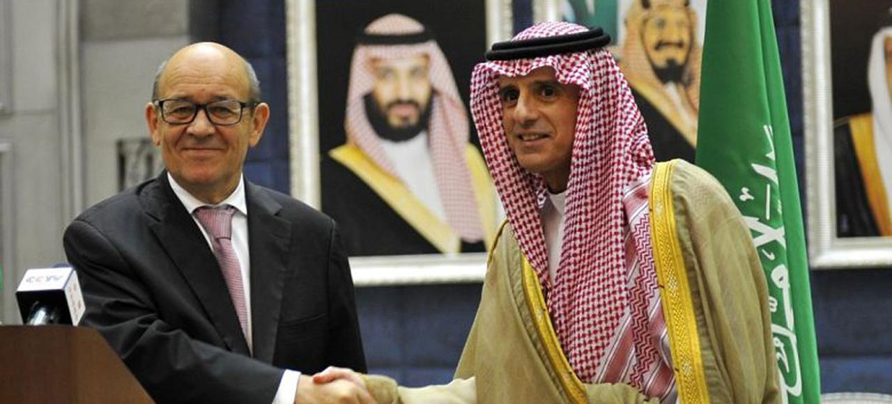 Jean-Yves le Drian et son homologue saoudiens, Adel Jubeir, samedi, à l'issue d'une conférence de presse à Djedda.