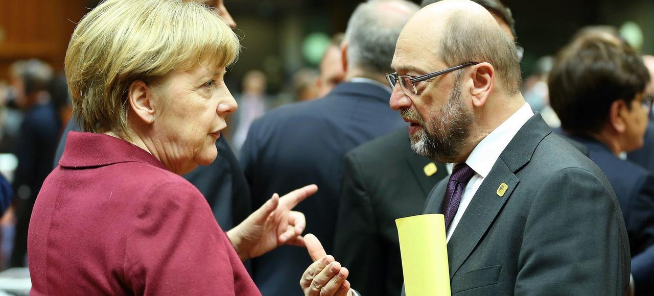 Angela Merkel et Martin Schulz, en décembre 2015.