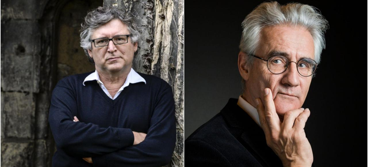 Michel Onfray (à gauche) et André Comte-Sponville (à droite) débattent sur fond de philosophie antique.