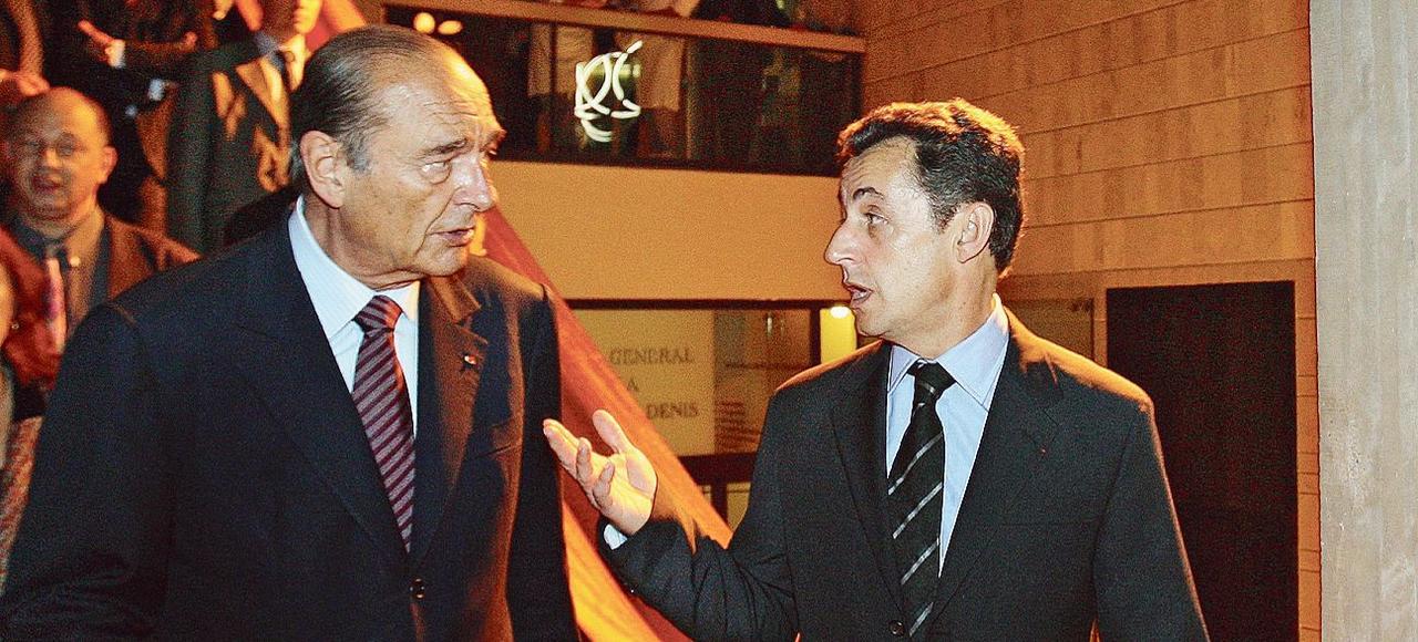 Le président Jacques Chirac et son ministre de l'Intérieur Nicolas Sarkozy, en 2007.