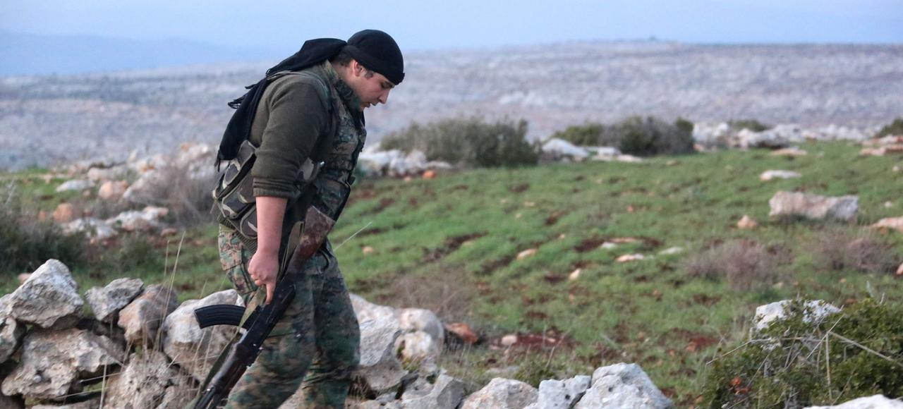 Un combattant kurde dans le district d'Afrin.