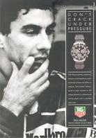 Publicité TAG Heuer, avec Ayrton Senna, en 1991.