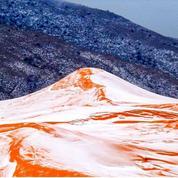 Chutes de neige féeriques sur les dunes du Sahara