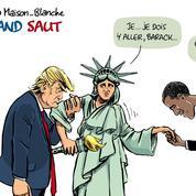 Le dessin d'Ixène:«Trump à la Maison Blanche, le grand saut»