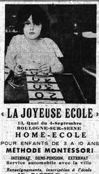Publicité pour la «Joyeuse École» dans <i>Le Figaro</i> du 6 septembre 1935.