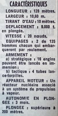 Les principales caractéristiques du «Redoutable» parues dans Le Figaro du 22 mars 1967.