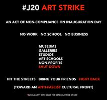 Communiqué de la pétition «J20 Art Strike», capture page Facebook du mouvement.