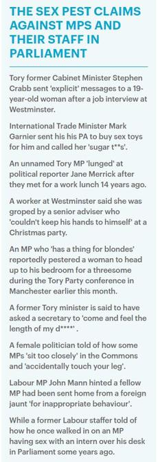 La liste des allégations visant des membres du Parlement recensée par le Daily Mail. La première concerne un ancien ministre qui avait dû démissionner pour des faits similaires.