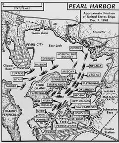 Carte figurant l'emplacement des bateaux avant l'attaque de Pearl Harbor du 7 décembre 1941.