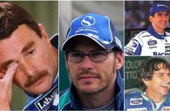 De gauche à droite et de bas en haut: Nigel Mansell, Jacques Villeneuve, Damon Hill et Nelson Piquet.