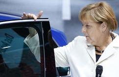 Angela Merkel sur le stand Volkswagen, au Salon de Franckfort, le 17 septembre dernier.