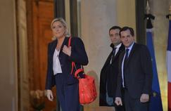 Marine Le Pen, Florian Philippot et Nicolas Bay à l'Élysée, le 16 novembre 2015.