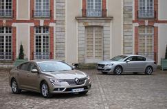 Avec la Talisman (à gauche), Renault revient sur le marché du haut de gamme. Moins confortable mais plus efficiente mécaniquement, la Peugeot 508 reste dans le coup (à droite).