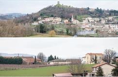 Vues des villages drômois de Mercurol (en haut) et de Veaunes qui ont fusionné le 1er janvier 2016 pour former la nouvelle commune de Mercurol-Veaunes.